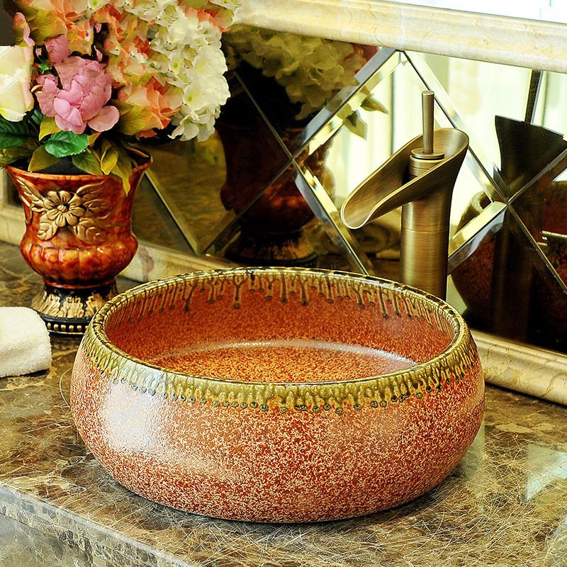 [해외] 예술적 도자기 수제 도자기 Lavabo 욕실 선박 싱크 세라믹 씻어 분지 도자기 분지 싱크대/China Artistic Porcelain Handmade Porcelain Lavabo Bathroom Vessel Sinks ceramic wash basin p