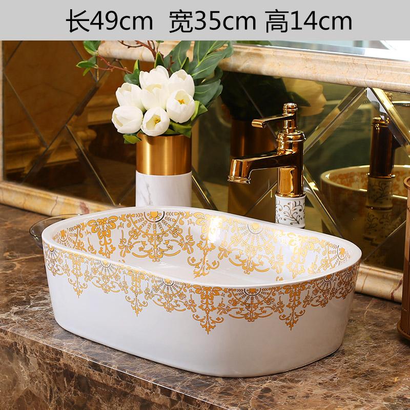 [해외]금 패턴 유럽 스타일 수제 수조 분지 욕실 싱크 세라믹 씻어 분지 도자기 씻어 분지 싱크 타원형/Gold pattern Europe Style Handmade Countertop Basin Bathroom Sink Ceramic wash basin porcela