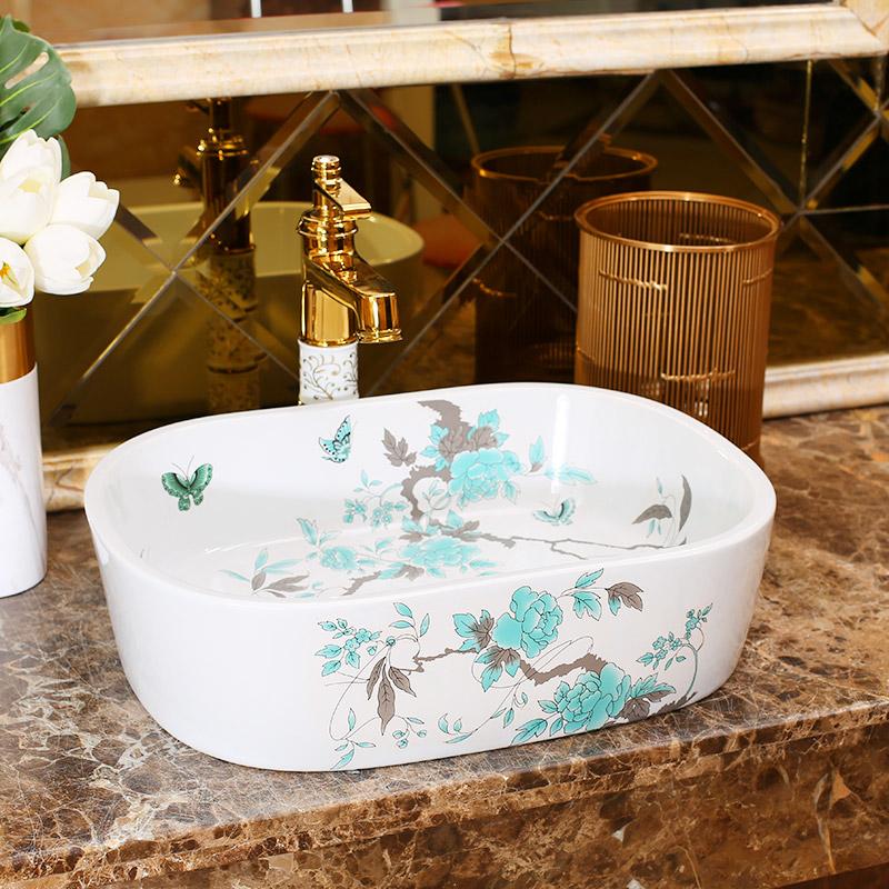 [해외] 프로 세인 씻어 분지 싱크 도자기 예술 싱크대 수조 씻어 분지 세라믹 욕실 싱크 도자기 씻어 분지 작은 타원형/China Procelain wash basin sink ceramic art sinks Countertop wash basin ceramic bat