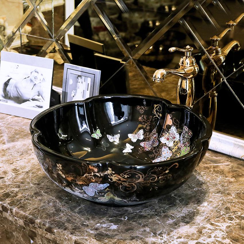 [해외]욕실 Cloakroom 유럽 빈티지 스타일 아트 씻어 분지 세라믹 카운터 탑 씻은 분지 욕실 싱크 빈티지 도자기 싱크대/Bathroom Cloakroom Europe Vintage Style Art wash basin Ceramic Counter Top Wash