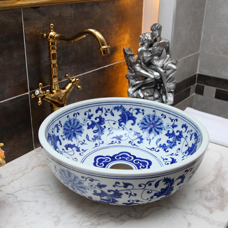 [해외]파란색과 흰색 도자기 욕실 화장 대 화장실 싱크대 그릇 카운터 타원형 세라믹 씻어 분지 화장실 싱크대/Blue and white porcelain bathroom vanity bathroom sink bowl countertop Oval Ceramic wash