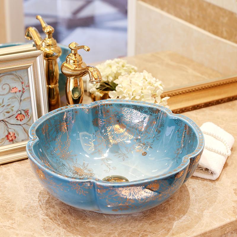 [해외]도자기 욕실 세라믹 카운터 탑 싱크는 유럽 미술 분지 욕실 카운터 수조에서 인기있는 세면대를 씻어/Porcelain bathroom ceramic counter top sinks wash basin popular in europe art basin bathroo