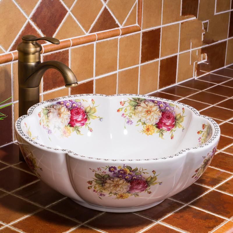 [해외]꽃 모양의 욕실 클록 룸 어 핸드 메이드 유럽 빈티지 세라믹 Lavabo 욕실 싱크 씻어 분지 bowlgold 색상/Flower Shape Bathroom Cloakroom Chinese Handmade Europe Vintage Ceramic Lavabo Ba