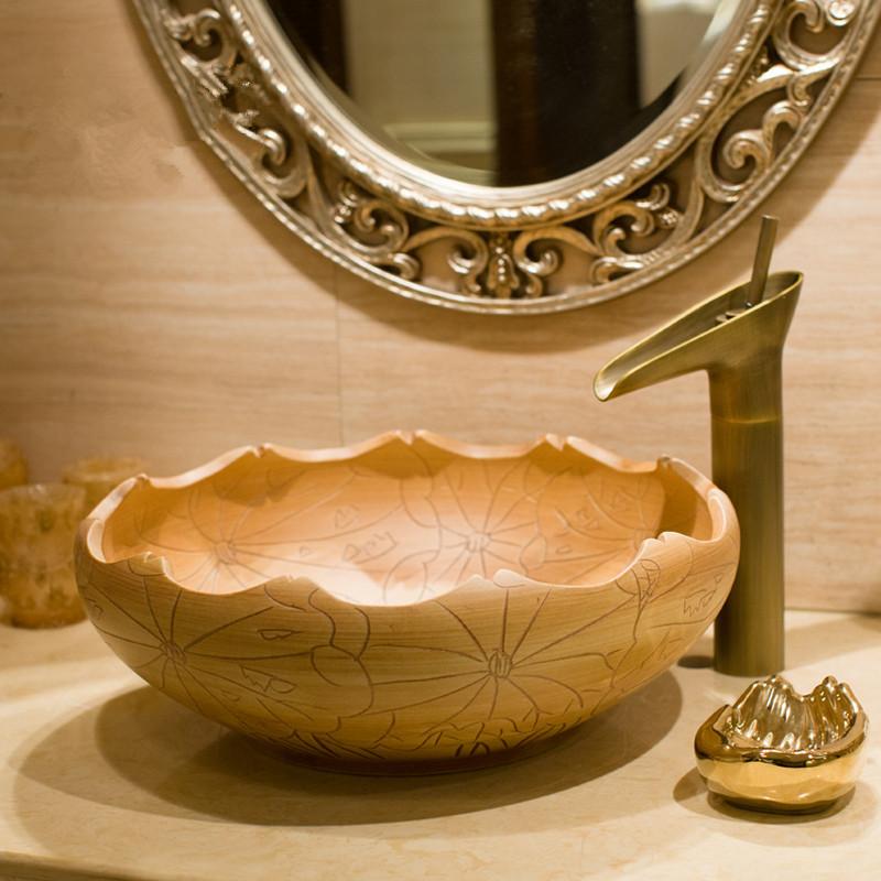 [해외]세라믹 세면대 원형 카운터 세면대 분지 아트 세라믹 세면대/Ceramic wash basin Round Counter top wash basin art ceramic bathroom sinks