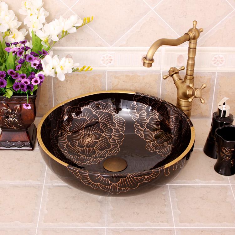[해외] 회화 모란 도자기 그림 미술 Lavabo 욕실 선박 싱크 라운드 카운터 상단 욕실 싱크 도자기 싱크 블랙/China Painting peony Ceramic Painting Art Lavabo Bathroom Vessel Sinks Round counter t