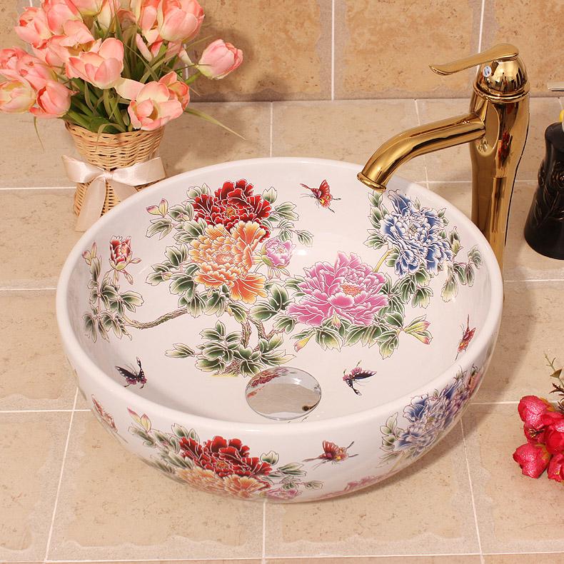 [해외]세라믹 페인팅 다채로운 모란  회화 씻어 분지 욕실 그릇 싱크 싱크 카운터 가기 손 세차 세라믹 씻어 분지 흰색/Ceramic Painting Colorful Peony China Painting wash basin Bathroom vessel sinks cou