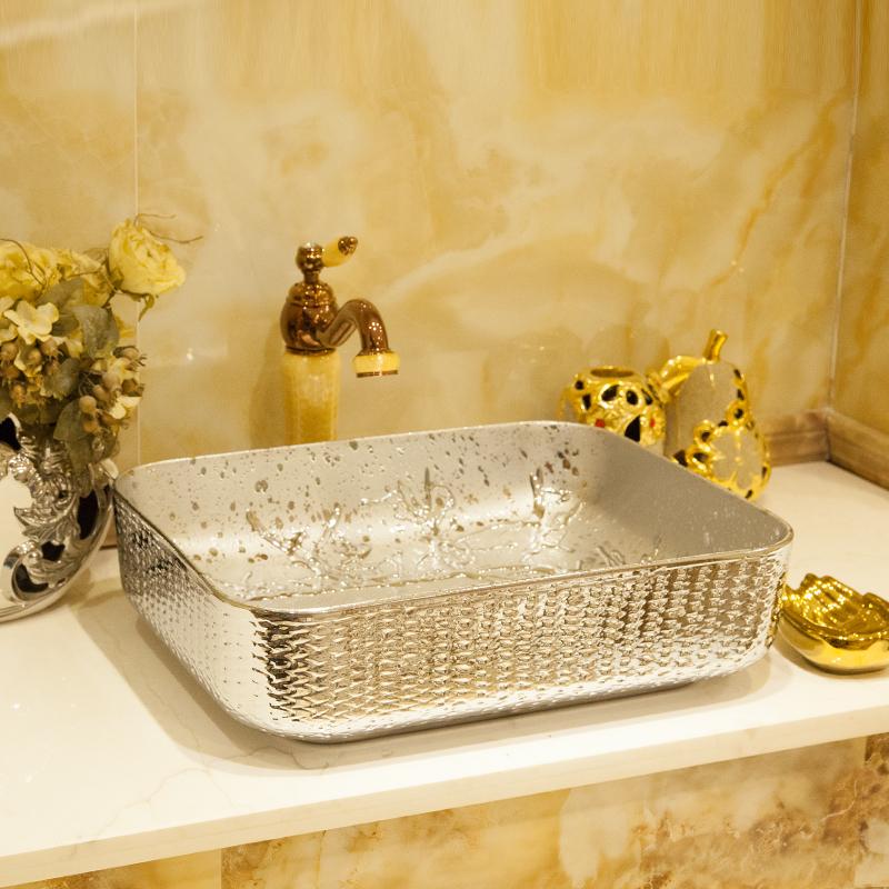 [해외]실버  예술적 수제 세라믹 씻어 분지 카운터 위 세척 싱크 세라믹 손으로 그린 ??도자기 싱크를 그렸습니다/Silver China Artistic Handmade Ceramic wash basin Counter top wash sink ceramic hand p