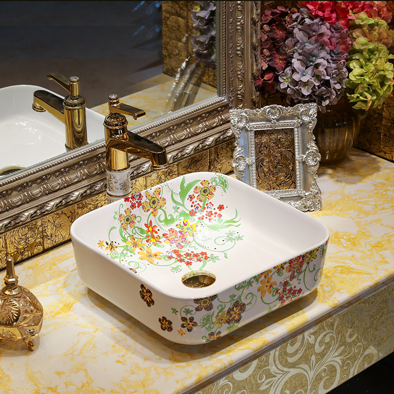 [해외]스퀘어 세라믹 페인팅 아트 Lavabo 욕실 선박 싱크 카운터 상단 세라믹 색상 씻어 분지 카운터 상단 분지/Square Ceramic Painting Art Lavabo Bathroom Vessel Sinks Round counter top ceramic co