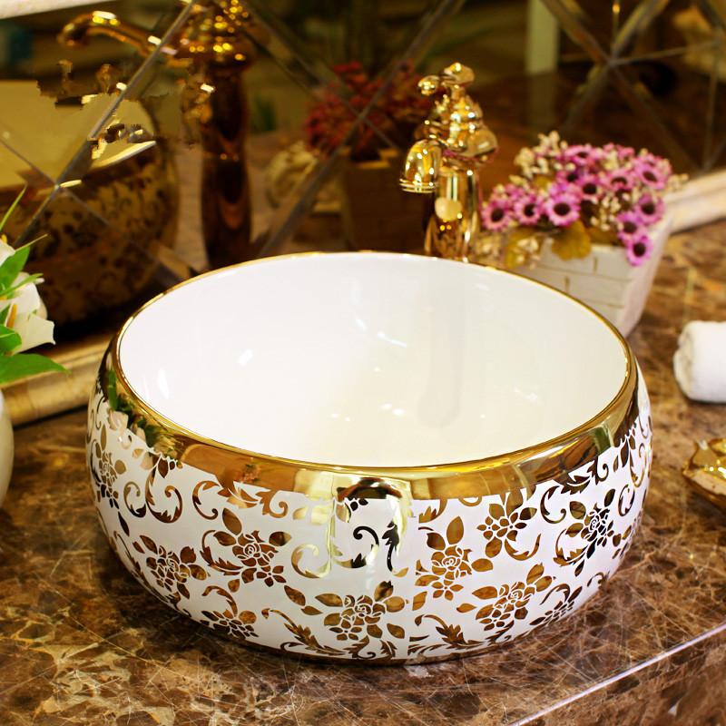 [해외]유럽 ??스타일 수제 욕실 싱크대 그릇 조리대 원형 모양 세라믹 씻어 분지 욕실 싱크 골드 패턴/Europe Style Handmade bathroom sink bowl countertop round Shape Ceramic wash basin bathroom