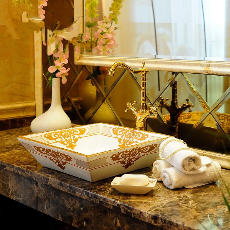 [해외]광장 유럽 빈티지 스타일 예술 도자기 카운터 상단 분지의 싱크 수제 ??세라믹 욕실 선박 싱크 베니 티스 컬러 아트 분지/Square Europe Vintage Style Art Porcelain Counter top Basin Sink Handmade Cera