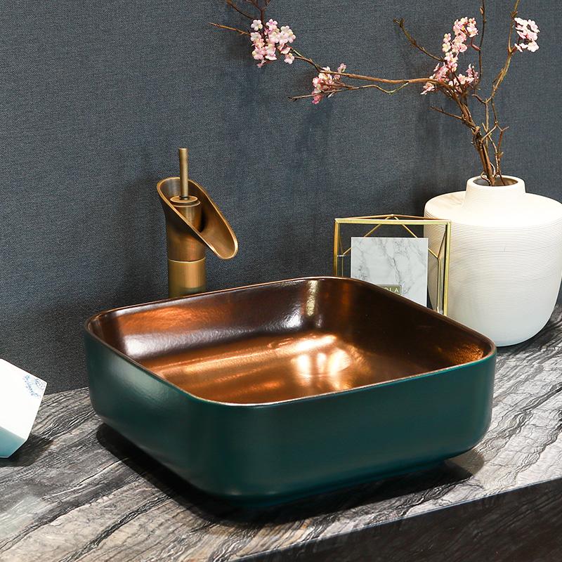 [해외]도자기 Cloakroom 광장 워시 분지 Lavabo 카운터 탑 싱크 선박 욕실 핸드 페인트 아트 워시 볼 goldblue/Porcelain Cloakroom square Wash Basin Lavabo Counter top Sink Vessel Bathroom