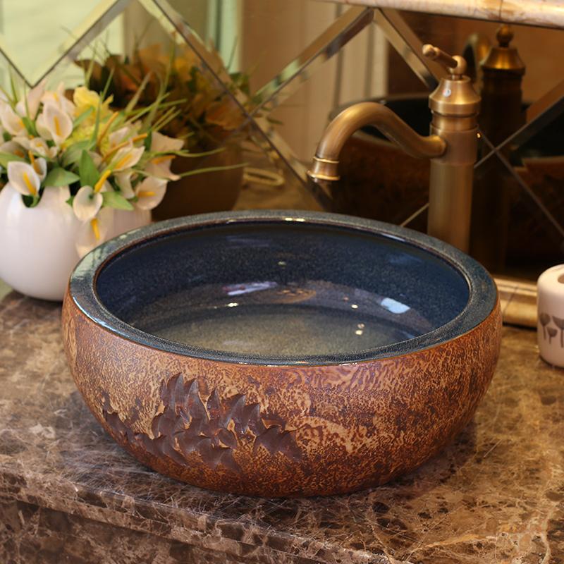 [해외]갈색 도자기 욕실 화장 대 화장실 싱크대 그릇 카운터 탑 세라믹 씻어 분지 화장실 싱크대/Brown porcelain bathroom vanity bathroom sink bowl countertop round Ceramic wash basin bathroom