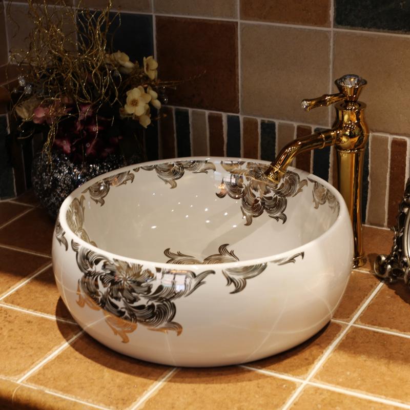 [해외]새로운 디자인 수제 유럽 빈티지 스타일 Lavobo 세라믹 욕실 수조 욕실 싱크 세라믹 화이트 욕실 싱크/New design Handmade Europe Vintage Style Lavobo Ceramic Bathroom Countertop Bathroom Si