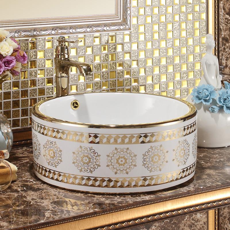 [해외]라운드 도자기 욕실 장식품  미술 카운터 탑 세라믹 장식 미술 씻어 분지 욕실 싱크 골드 패턴/Round Porcelain bathroom vanities chinese Art Counter Top ceramic decorative art wash basin b