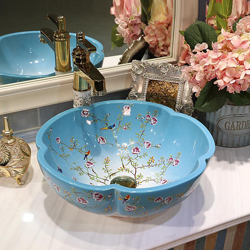 [해외]집 & amp; 호텔 장식 예술적  회화 도예 욕실 혈관 싱크 꽃 카운터 상단 헤어 세차 분지 매화/Home & Hotel Decor Artistic China Painting Ceramic Art Bathroom Vessel Sinks flowe