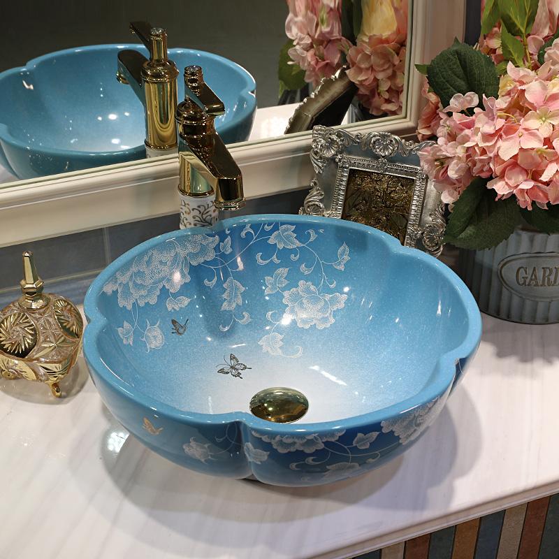 [해외]꽃 수제 꽃 모양 현대 간략한 스타일 도자기 예술적 Lavabo 욕실 싱크 워시 분지 욕실 장식대와 싱크대/Flower Handmade flower Shape Modern Brief Style Ceramic Artistic Lavabo Bathroom Sink