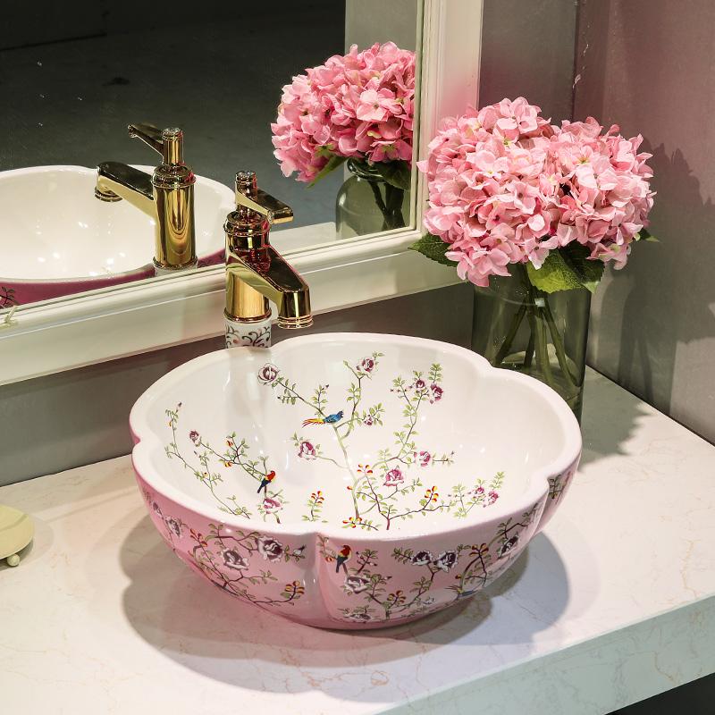 [해외] 꽃과 새 pinkwhite 회화 아트 욕실 선박 싱크 라운드 카운터 씻어 분지/China flower and bird pinkwhite Painting Art  Bathroom Vessel Sinks Round counter top wash basin