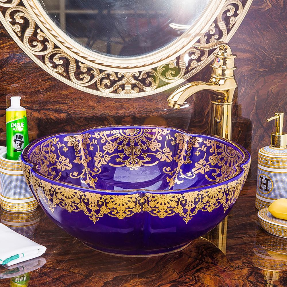 [해외]분지 위 분지 분지 꽃잎 컨티넨탈 세면대 분지 세면대 화장실 색깔 골드 아트 분지 세라믹 LO618911/Basin Above Counter Basin Petal Continental Wash Basin Wash Basin Toilet Color Gold Art