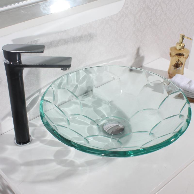 [해외]분지 욕실 위생 도자기 강화 유리 세면기 아트 워시 분지 강화 유리 싱크/Basin Bathroom Sanitary Ware Toughened Glass Washbasin Art Wash Basin Tempered glass sink