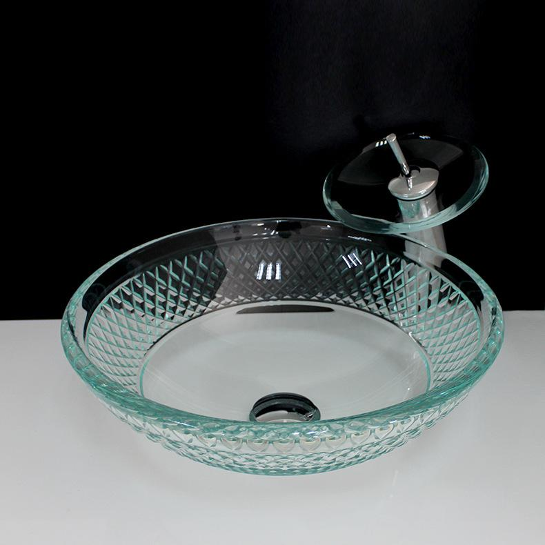 [해외]강화 유리 아트 워시 분지 욕실 세면기 화장실 유리 싱크대 욕실/Tempered Round Glass Art Wash Basin bathroom Washbasin Toilet glass sink bowls bathroom