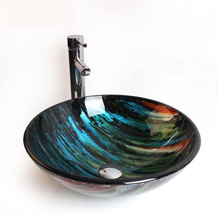 [해외]크리 에이 티브 아트 강화 유리 세면대 발코니 욕실 둥근 유리 싱크대/Creative Art Tempered Glass Washbasin Balcony Bathroom round glass sink bowl
