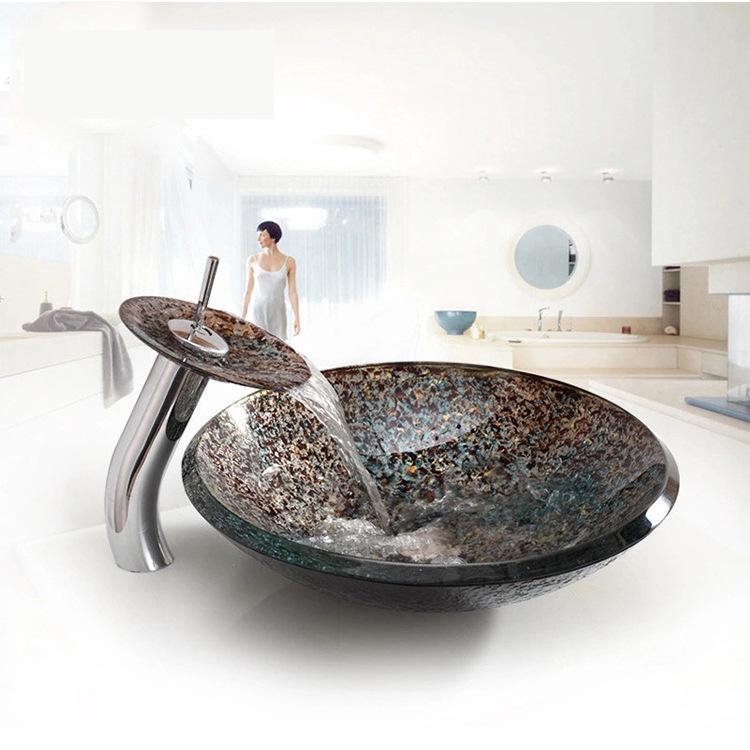 [해외]욕실 유리 세면기 폭포 분지 수도꼭지 아트 분지 강화 유리 싱크대/Bathroom Glass Washbasins Waterfall Basins Faucets Art Basins Tempered glass sink