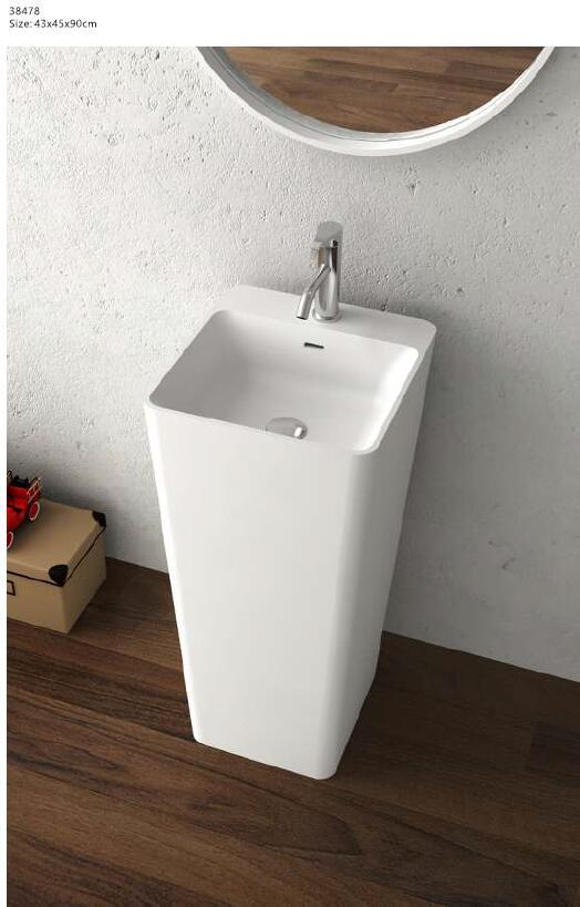 [해외]코리안 욕실 페데 스탈 워시 분지 독립형 솔리드 서피스 핸드 싱크 Cloakroom 세면대 싱크 RS38478/Corian Bathroom Pedestal Wash Basin Freestanding Solid Surface Hand Sink Cloakroom V