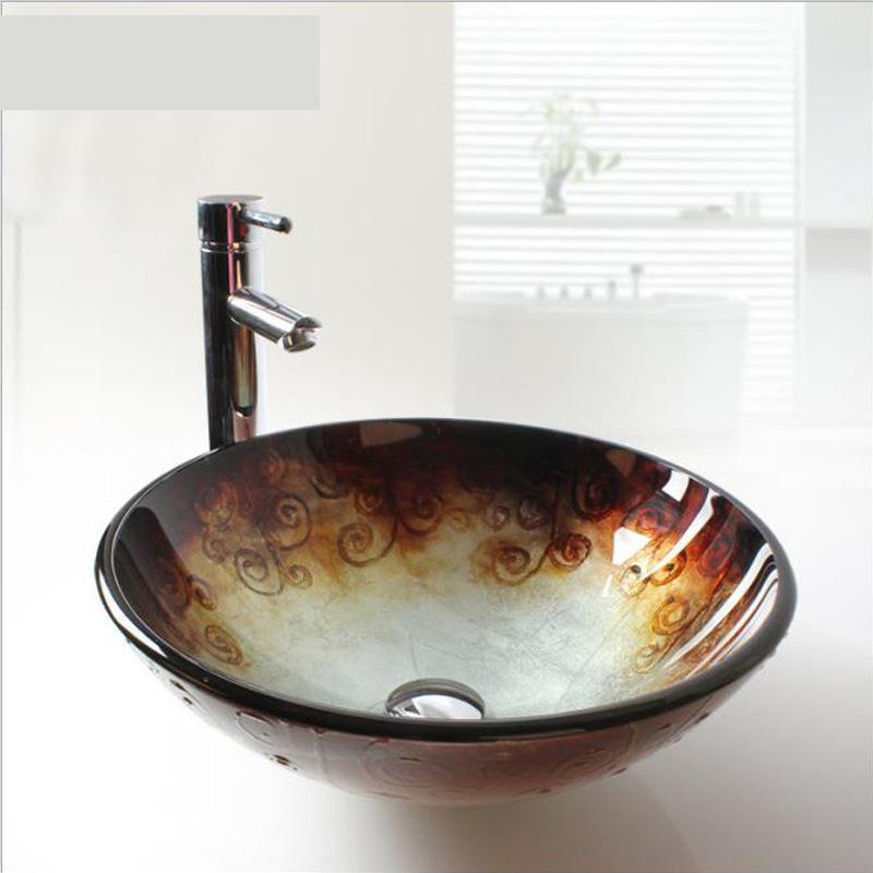 [해외]강화 유리 세면대 욕실 조각 레트로 개성 장미 패턴 유리 싱크대 욕실 장미/Tempered Glass Washbasin Bathroom Sculpture Retro Personality rose pattern glass sink bowls bathroom