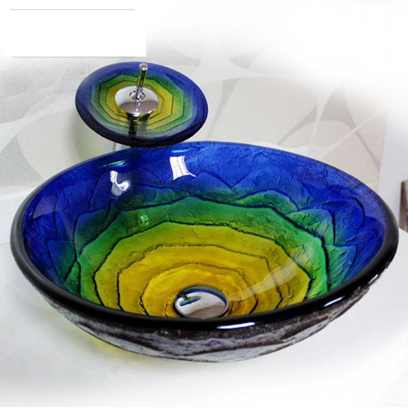 [해외]욕실 blueyellow 라운드 예술적 유리 그릇 허영심 싱크 폭포 탭 수도꼭지/Bathroom blueyellow round Artistic Glass Vessel Vanity Sink Waterfall tap Faucet