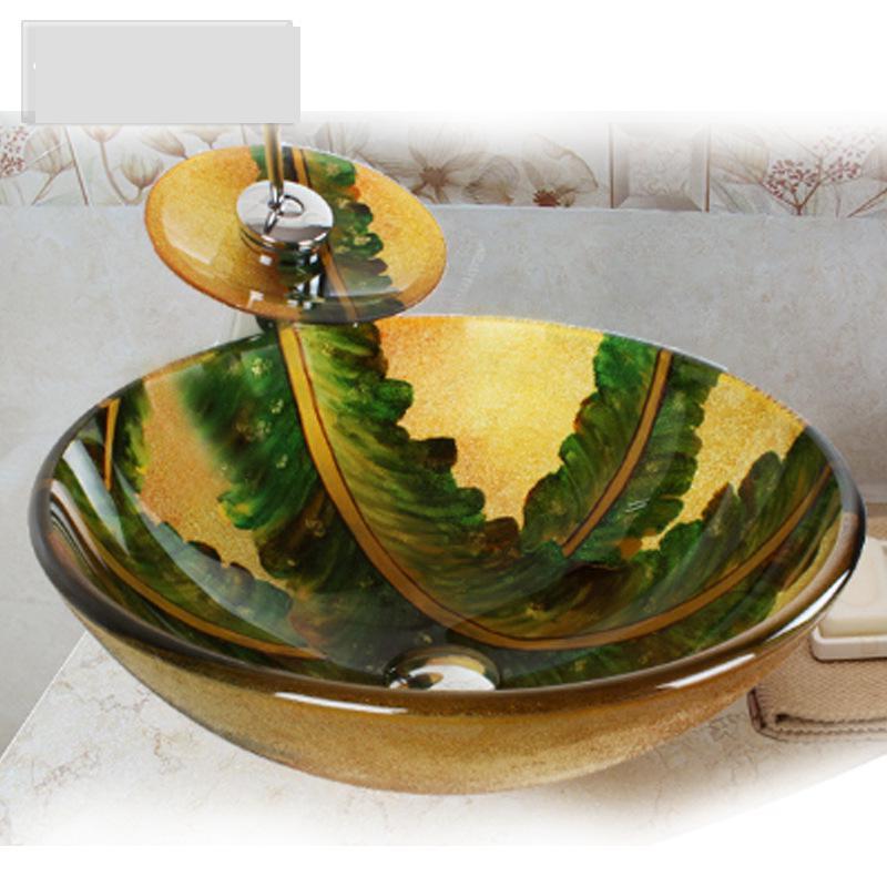 [해외]리프 아트 손으로 만든 강화 유리 욕실 싱크 분지 라운드/Leaf Art Hand-made Tempered Glass Bathroom Vessel Sink Basin round