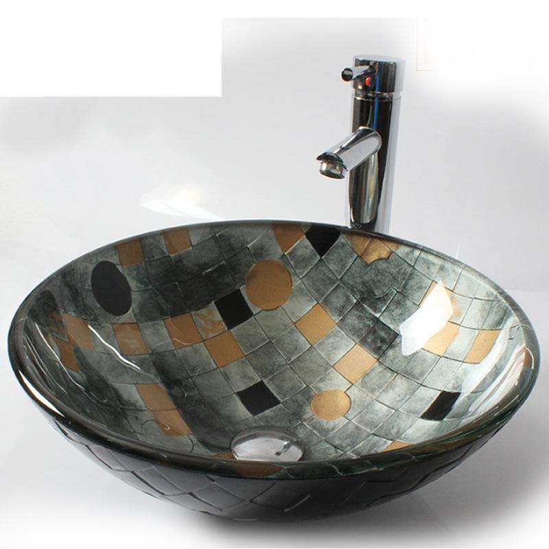 [해외]욕실 유리 베니 숀 라운드 싱크 & amp; 크롬 배수구/Bathroom Glass Vessel Vanity Round Sink & Chrome Drain