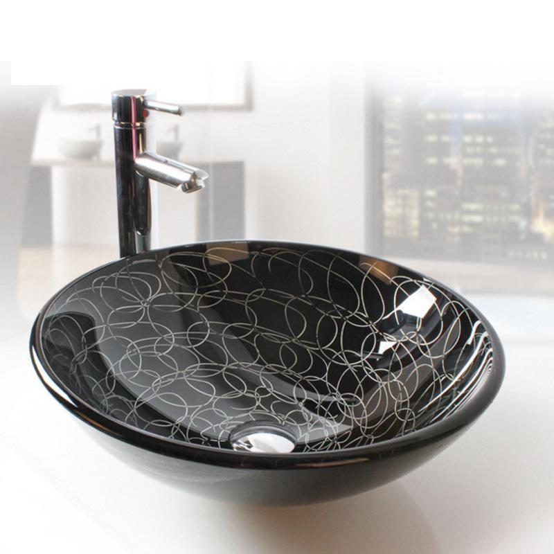 [해외]욕실 아트 둥근 검은 유리 그릇 허영심 싱크대/Bathroom Art round black Glass Vessel Vanity Sink