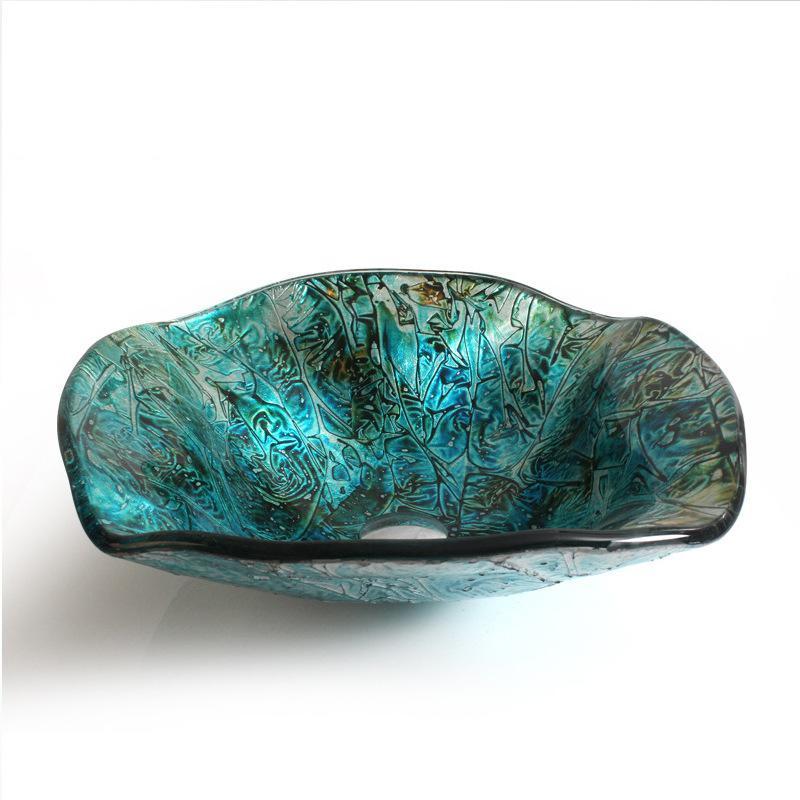 [해외]스카이 블루 욕실 유리 세면대 + 브러시 니켈 수도꼭지 & amp; 일치하는 설치 링 꽃 모양/Sky blue Bathroom Glass Vessel Sink + Brush Nickel Faucet & Matching Mounting Ring fl