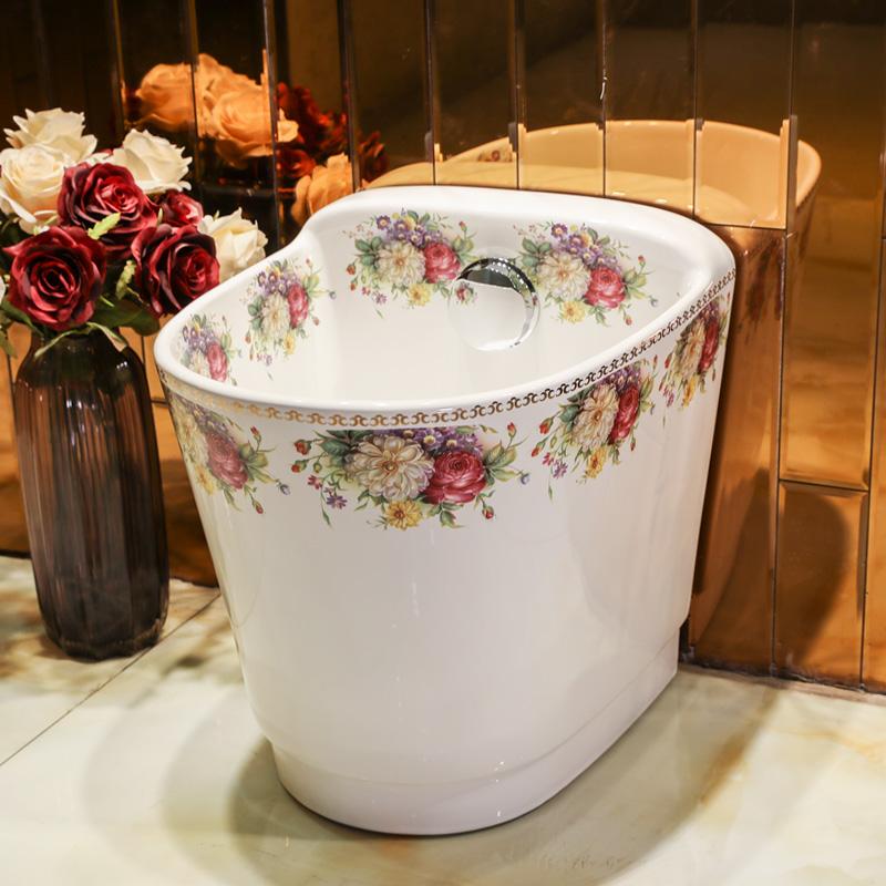 [해외]발코니 걸레 풀 세라믹 걸레 싱크 욕실 걸레 분지 트럼펫 문 풀 분지의 큰 잡아 당김 다채로운 작약 패턴/Balcony Mop Pool Ceramic Mop sinks bathroom Mop Basin Trumpet Mun Pool Large Tug Of Bas
