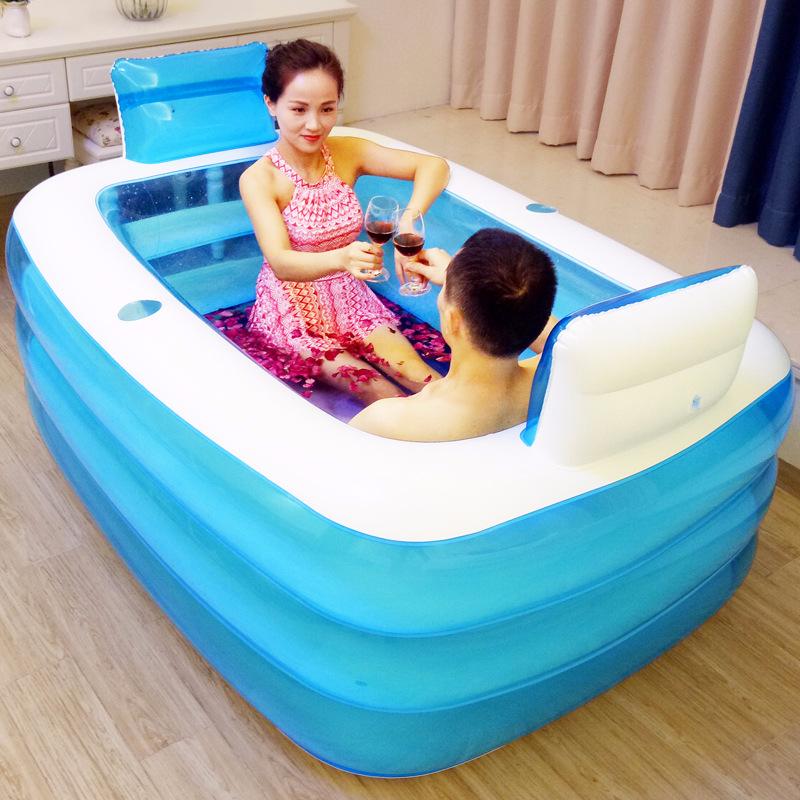 [해외]가정용 더블 사람 풍선 욕조 애호가 성인 목욕 분지 짙어지면서 접이식 목욕 플라스틱 어린이 목욕탕 수영장/Household double person inflatable bathtub lovers adult bath basin thickening folding b