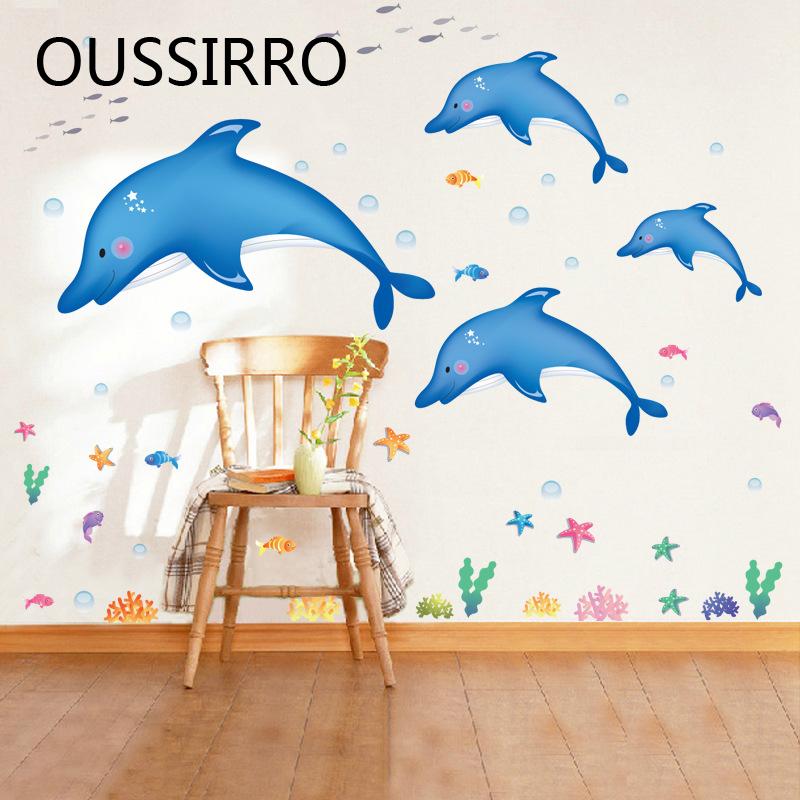 [해외]1pcs 만화 수 중 돌고래 물고기 불가사리 거품 목욕 스티커 아이 방 욕실 벽 장식 어린이 보육 룸 전사 술 Decals 선물/1Pcs Cartoon Underwater Dolphin Fish Starfish Bubble Bath Sticker For Kid