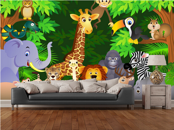 [해외]정글에서 동물, 거실을3D 만화 벽지 아이들과 방 TV 벽 벽지/Custom papel de parede infantil,Animals In the Jungle,3D cartoon wallpaper for living room children&s room TV
