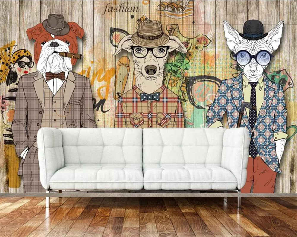 [해외]Beibehang 3D 벽지 레트로 향수 추상 나무 개 시가 동물 사진 벽지 Art painting wallpaper for wall 3 d/Beibehang 3D Wallpaper Retro Nostalgic Abstract Wooden Dog Cigar An