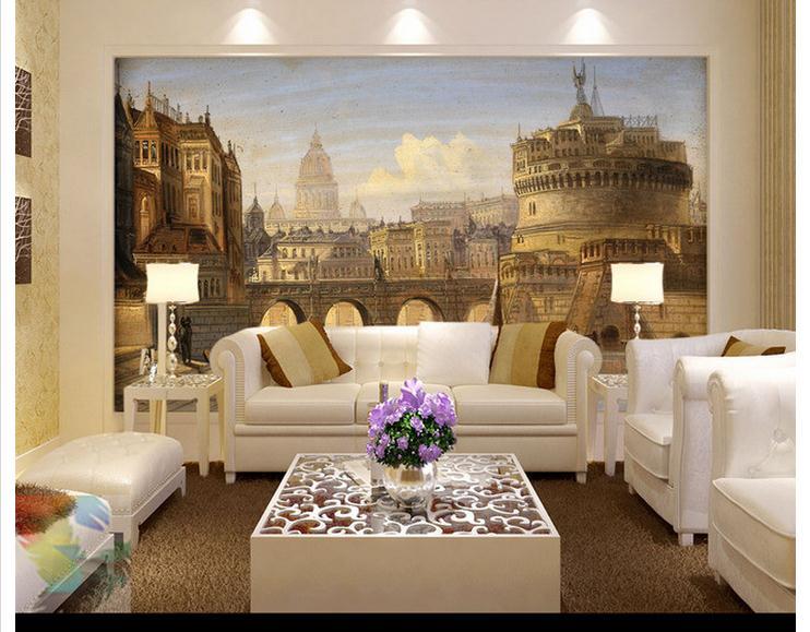 [해외]사용자 정의 3D 벽 벽화 벽지 로마 거룩한 천사 유럽 - 스타일의 성 벽화 배경 3D 사진 벽지 거실/custom 3d wall murals wallpaper Roman holy angels european-style castle wall painting ba