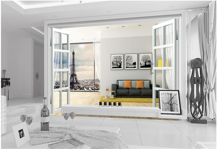 [해외]사용자 정의 3D 사진 벽지 판타지 3d 방 창 파리 TV 벽 배경 벽화 벽화 벽 3 d/Custom 3D photo wallpaper Fantasy 3d room window Paris TV backdrop mural painting wallpaper mura
