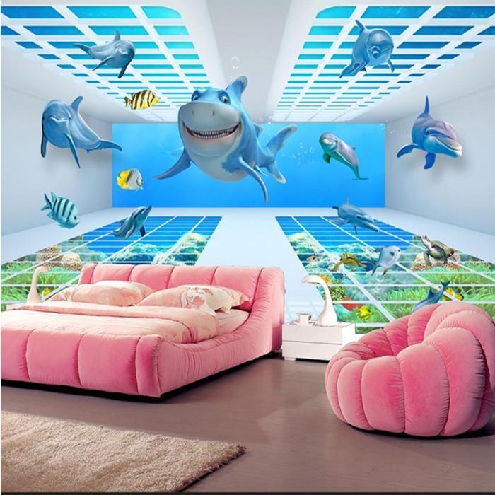 [해외]사용자 정의 사진 벽지 3D 돌고래 3D 벽화 소파 티셔츠 벽화 키즈 룸을벽화 벽지/Custom photo wallpaper 3D Dolphins 3d wallpaper mural sofa tv wall painting mural wallpaper for kid