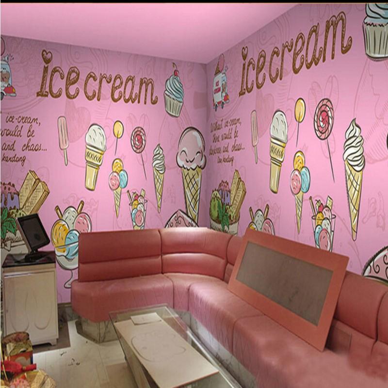 [해외]사진 벽지 핑크 아이스크림 케이크 벽화 사용자 정의 장식 벽화 소녀 룸 주방 바탕 화면/photo wallpaper Pink Ice Cream Cake Mural Restaurant Custom Decorative Mural Girl Room Kitchen Wa