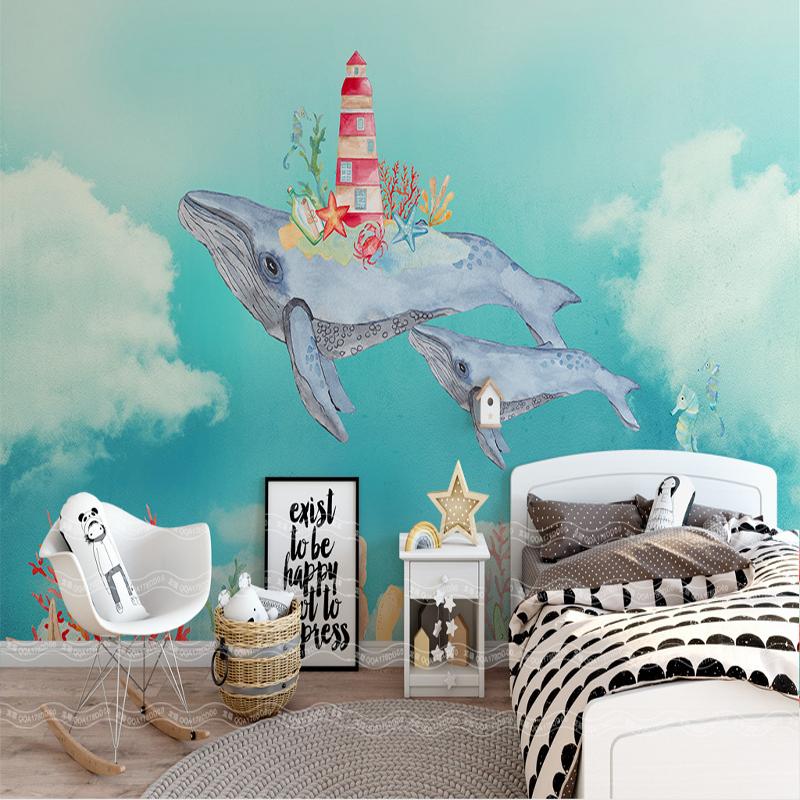 [해외]사용자 정의 현대 가정 장식 그림 벽지 북유럽 창조적 인 수채화 바다 고래 배경 벽지 어린이 방 벽화 벽화/custom modern home decor painting wallpaper nordic creative watercolor sea whale backg