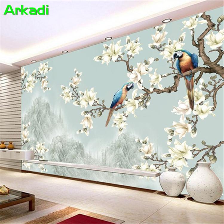 [해외]새로운 어 목련 앵무새 사진 벽지 3D 어 손으로 그린 ??꽃과 새 벽화 침실 TV 다시 소파 거실/New Chinese magnolia parrot photo wallpaper 3D Chinese hand-painted flowers and birds mura