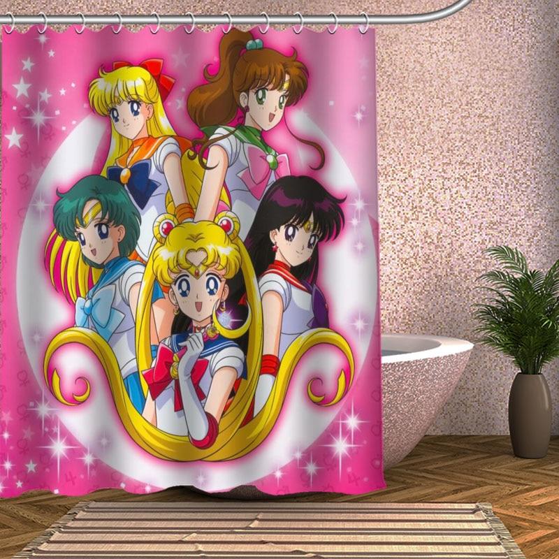 [해외]선원 문 샤워 커튼 Eco-friendly 현대 직물 폴리 에스테 주문 목욕 커튼/Sailor Moon Shower Curtain Eco-friendly Modern Fabric polyester Custom Bath Curtains