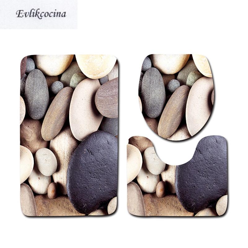 [해외]?3 개 조약돌 바다 목욕 매트 안티 - 슬립 욕실 매트 세트 Tapete Banheiro Washable 화장실 매트 Alfombra Bano/ 3 pcs Cobblestone Ocean Bath Mats Anti Slip Bathroom Mat Set Tap