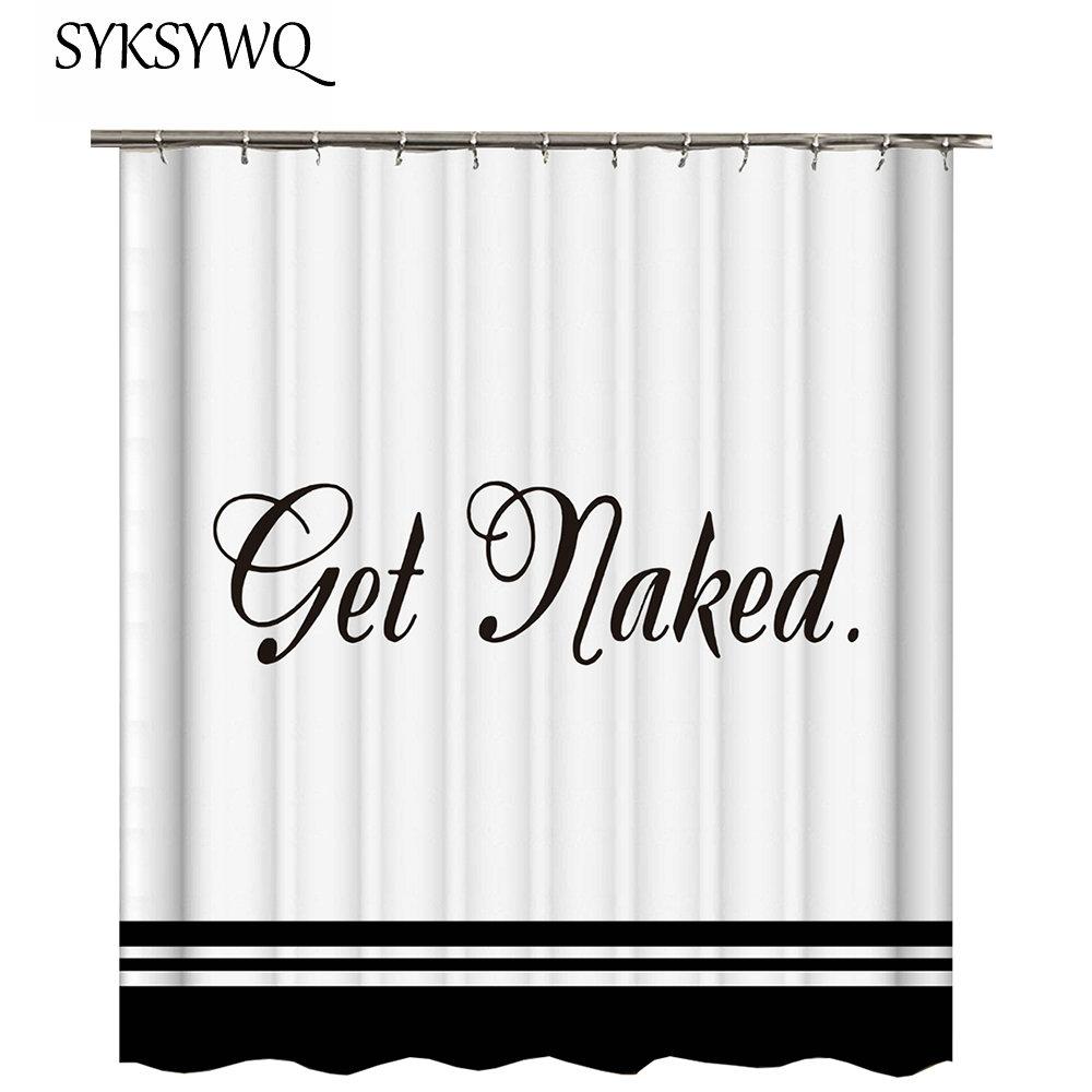 [해외]화이트 샤워 커튼 블랙 단어 ping 욕실 커튼 패브릭 폴리 에스터 목욕 커튼 3D 화이트 Duschvorhang Badezimmer/White Shower Curtain Black Words ping Bathroom Curtain Fabric Polyester