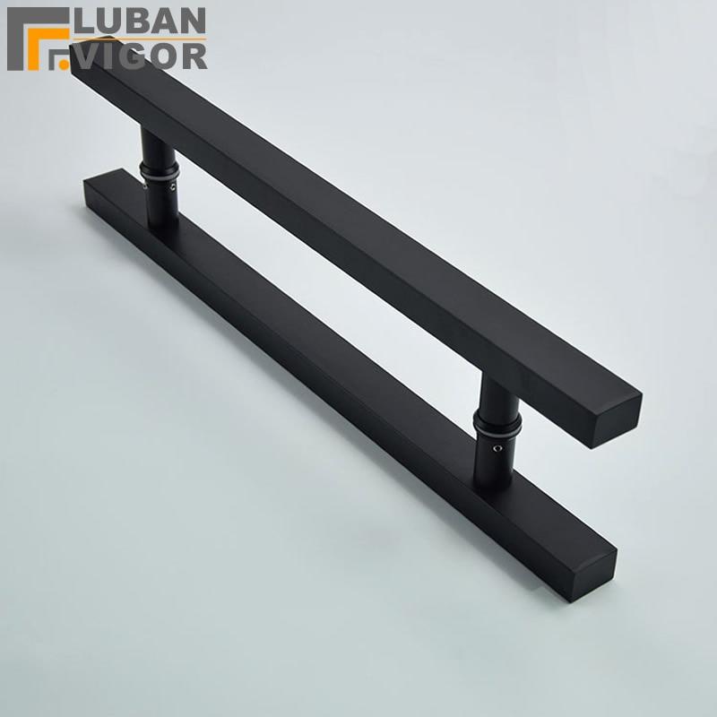 [해외]이렇게 좋은, 무광택 블랙 스테인레스 스틸 유리 / 나무 문 손잡이, 강력하고 내구성, 좋은 질감, 문 하드웨어/So good,matt black Stainless steel glass / wooden door handle, Strong and durable ,