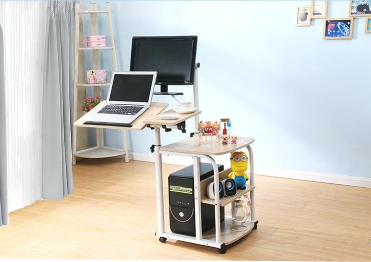 [해외]Suspension contracted mobile desktop computer desk. Simple rotary home lift notebook bedside table/Suspension contracted mobile desktop computer d