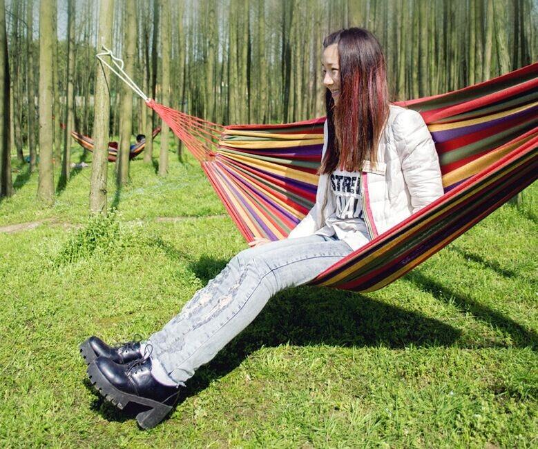 [해외]200*80 cm 야외 휴대용 개별 레인보우 해먹 캠핑 낙하산 천 기숙사 캐노피 컬러 캔버스 스트라이프 스윙 해먹